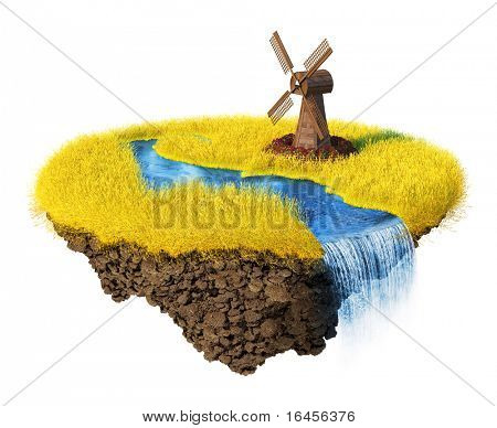 Mills, grain field, river with falls on the little magic planet. Piece of land in the air.  Concept of success and happiness, agriculture, idyllic ecological lifestyle. One of a series.