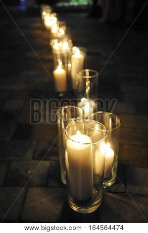 Wedding decoration trend. Candles, bouquet and giftbox