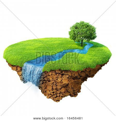 Idyllic natural landscape. Lawn with river, waterfall and one tree. Fancy island in the air isolated. Detailed ground in the base. Concept of success and happiness, idyllic ecological lifestyle.