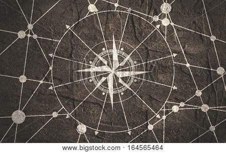 Brochure or report design template. Connected lines with dots. Travel and discovery relative image. Compass symbol on geometry pattern. Grunge textured backdrop