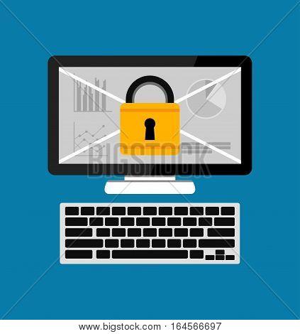 Computer with padlock. Personal computer security. Flat design.