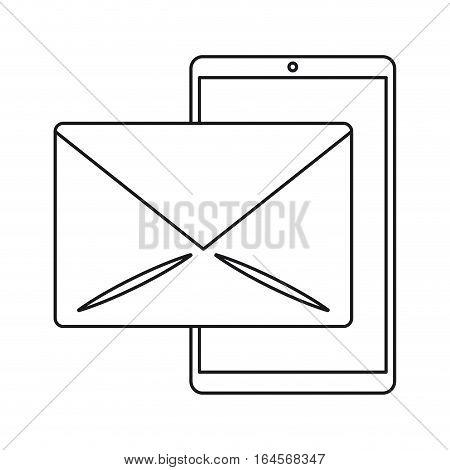 smartphone email message mail line vector illustration eps 10