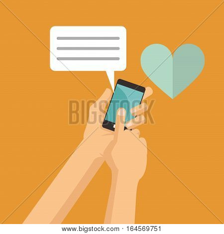 hand hold mobile phone love chat message vector illustration eps 10
