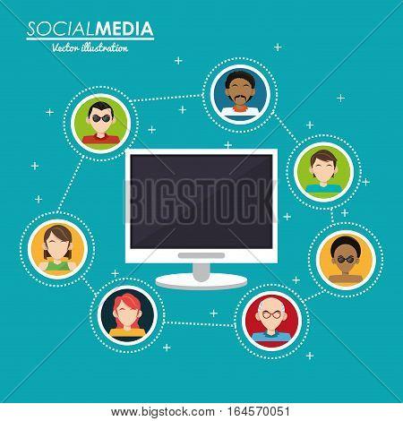 social media group interaction computer digital vector illustration eps 10