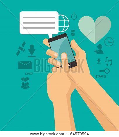 hands holds cellphone sending message chating vector illustration eps 10