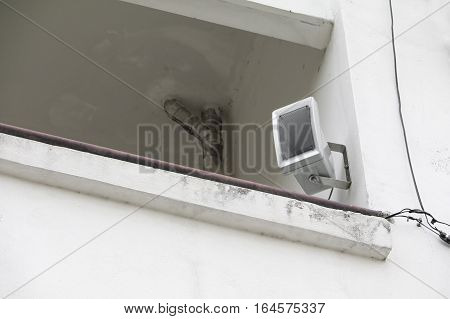 loudspeaker on the wall for present News in public place