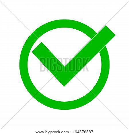 Green check mark with shadow isolated on white background