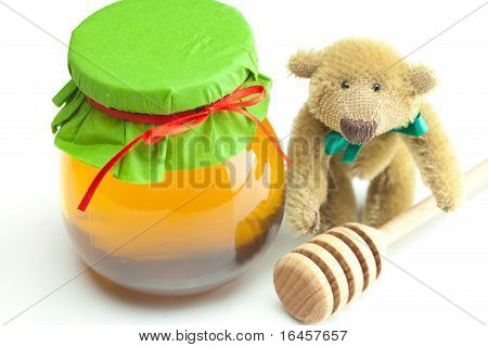 Teddy Bear ,stick To Hohey  And  Jar Of Honey