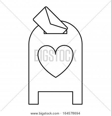 love mail post box message valentine line vector illsutration eps 10