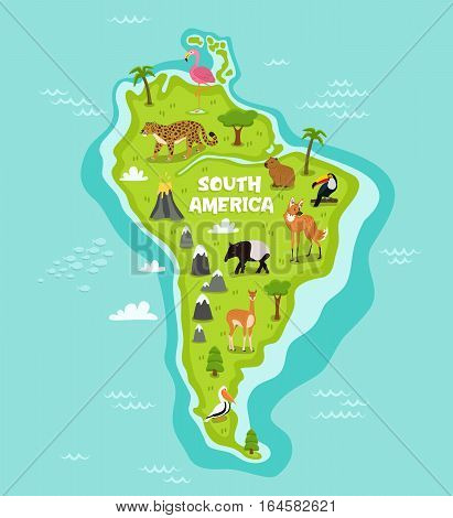 South american map with wildlife animals vector illustration. American flora and fauna, wolf, lama, tapir, pelican, flamingo, toucan, jaguar. South american continent in blue ocean with wild animals