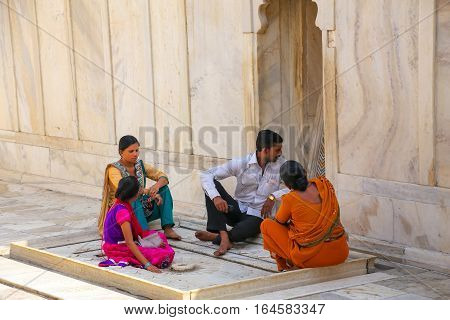 Agra, India - November 7: Unidentified People Sit In Nagina Masjid (gem Mosque) In Agra Fort On Nove