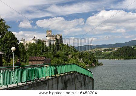Castle under lake Niedzica in Poland, Pieniny National Park