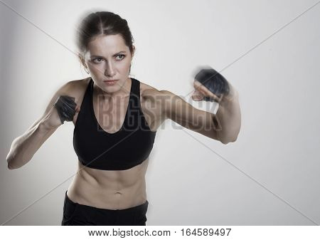 Young Beauty Woman Sport Isolated Fight Dynamic Motion Studio Shot