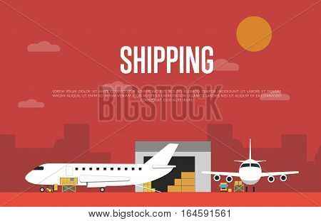 Commercial air shipping service banner vector illustration. Forklift truck loading cargo jet airplane and freight truck in airport terminal. Delivery transportation company, worldwide cargo airlines
