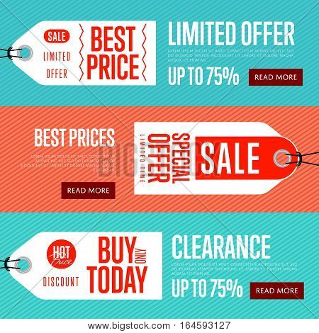 Special offer discount banner set vector illustration. Buy only today sticker, limited offer tag, advertisement retail label, best price flyer, special sale shopping symbol. Modern style offer sign.