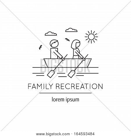 Vector thin line icon, two people sailing boat. Metaphor of family recreation and happy couple. Black on white isolated symbol. Simple mono linear modern design.