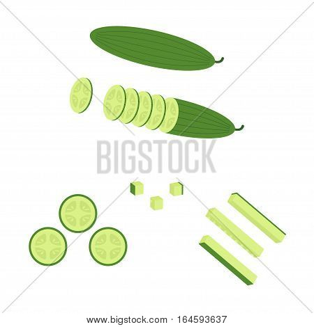 Sliced cucumber, cut, sliced and cubed icon. Vegetable and Herb, Vector Illustration of Cucumber Slices and Cucumber Sticks