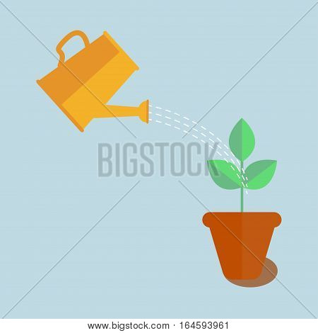 Watering can with plant vector icon. Watering can sprays water flowers in pot, business concept, flat design