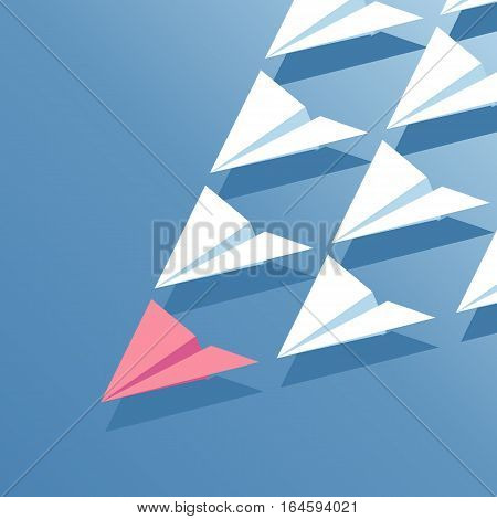 Business concept leadership. Red paper plane is flying at the head of a group of white paper planes isometric illustration