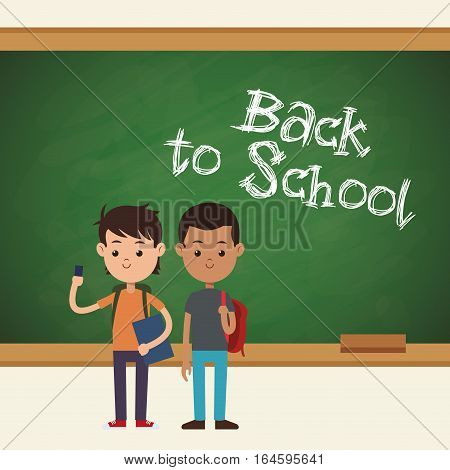back to school two student mobile book and bag chalkboard vector illustration eps 10
