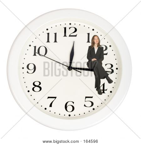 Business Woman Sitting On Clock