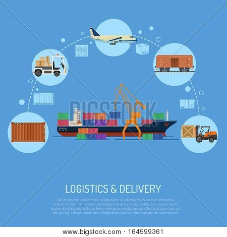 logistics and delivery concept with flat Icons Set sea, rail and air transport. isolated vector illustration