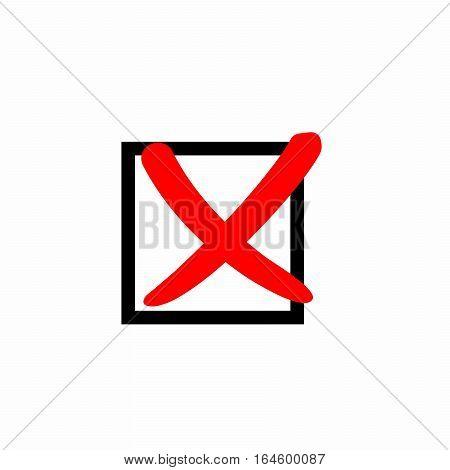 False check mark vector design isolated on white background
