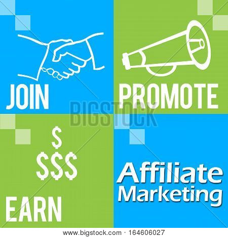 Affiliate Marketing concept Image with four green blue blocks and related symbols.