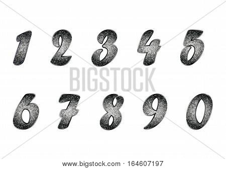 Standard set of blackened metal numbers. Vector collection of silver, platinum, other metals, glitter effect. Can be used as a design element, separate project, etc. Isolated on white. Horizontal.