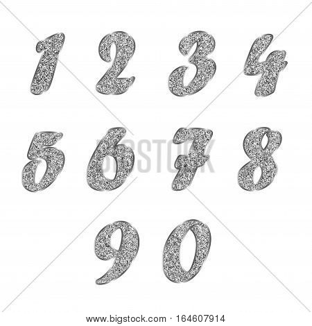 A standard set of numbers. Vector collection of silver, platinum, other metals of white color, glitter effect. Can be used as a design element, separate project, etc. Isolated on white. Horizontal.