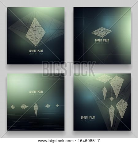 Set of vector square ultramodern templates. 3d geometric hand-drawn shapes and pyramid on blur space background. Image of crystal constellation diamond. Concept for logo brochures posters flyers.