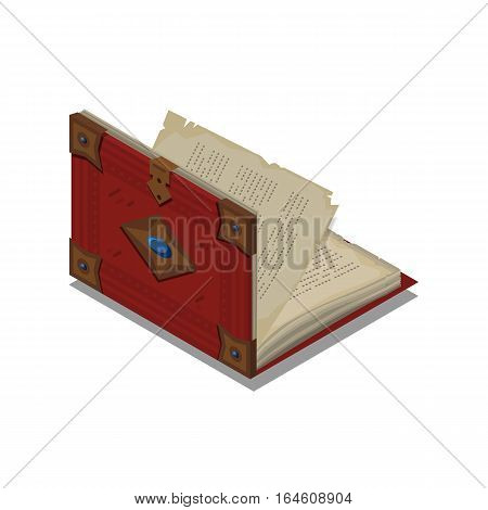 Old 3d colorful open book or tutorial. Isometric flat classbook or textbook icon. Education symbol logo. Illustration vector art.
