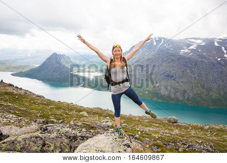 Happy people during beautiful Norway trip in summer