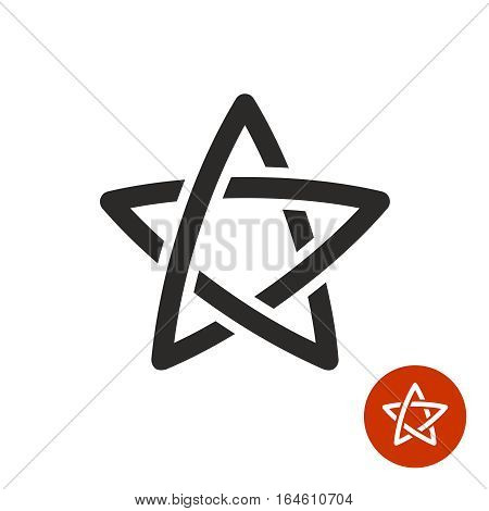 Star linear logo. Stroke outline style with intersections weavy symbol. Black color.
