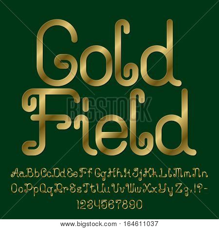 Beautiful golden curly font. Isolated english alphabet of capital and lowercase letters with numbers and punctuation marks. Gold Field text lettering.