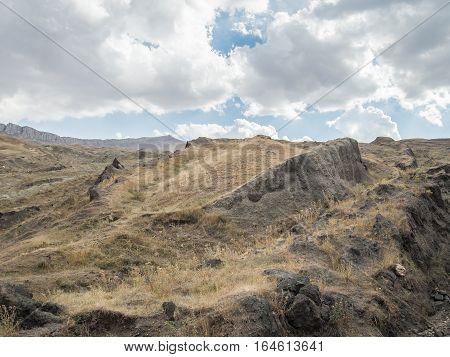 Agri, Turkey - September 29, 2013: Noah's Ark dig site on Ararat Mountain