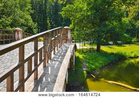 Pedestrian bridge with wooden railings in the forest park