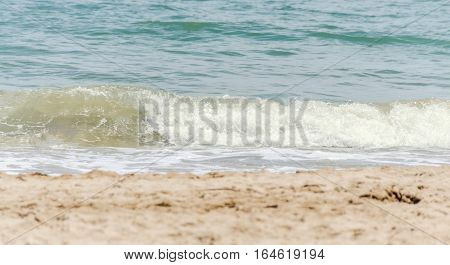 The Black Sea Shore From Albena, Bulgaria. Beach With Gold Sands, Blue Sea Water, Waves And Clouds S
