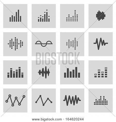 Vector line music soundwave icons set on grey background