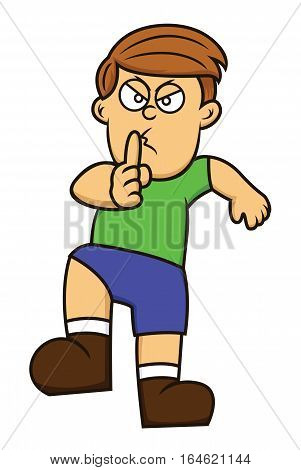 Cartoon illustration of a boy sneaking with finger on mouth for quiet. Vector character.