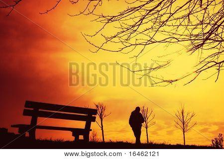Ein Herbst-Spaziergang bei Sonnenuntergang