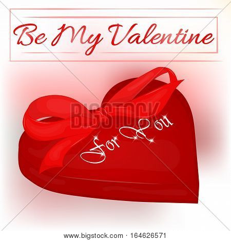 Happy Valentine's Day card with heart and bow. Background for valentine's day. Valentine's Day greeting card in cartoon style. Vector illustration. Holiday Collection.