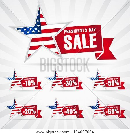 Presidents Day Sale discount labels vector illustration USA flag on background in star. Presidents day USA sale