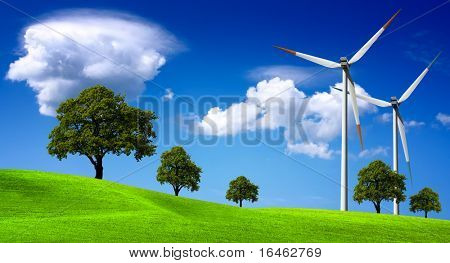 Wind turbines farm on the hills