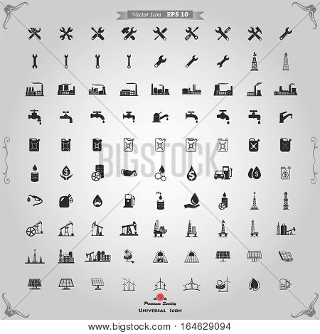 Industry icons set. Vector black Industry icons set on gray.