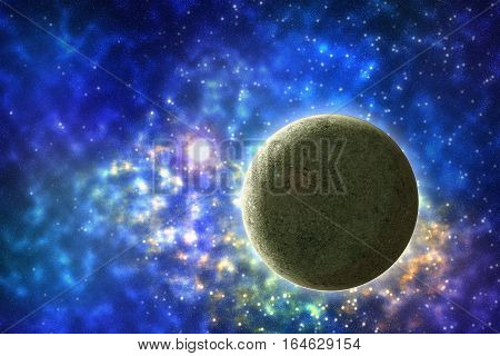 Starry sky and planets. Space scene with stars desktop background