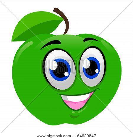 Vector Illustration of Happy Green Apple Mascot