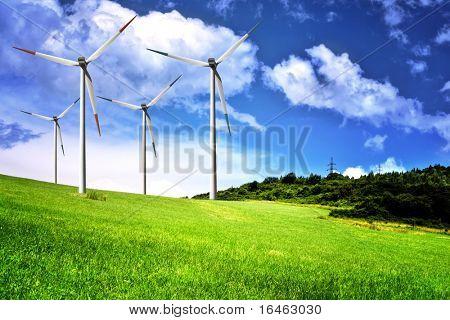 Wind farm and cloudy sky