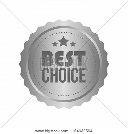 Vector Best Choice Metal Silver Sign, Round Label