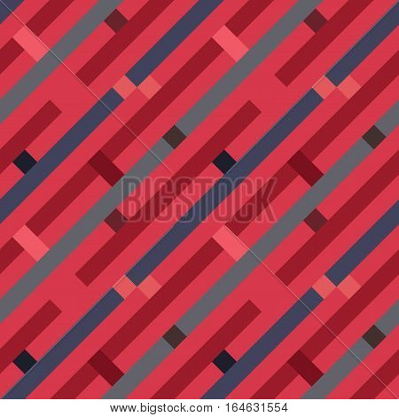 Seamless geometric stripy pattern. Texture of diagonal strips, lines and rectangles. Red, gray, brown, violet pastel colored background. Labyrinth theme. Vector